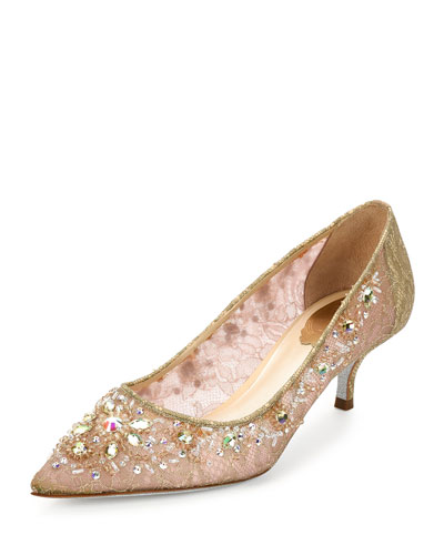 Crystal-Embellished Lace Low-Heel Pump, Golden/Multi