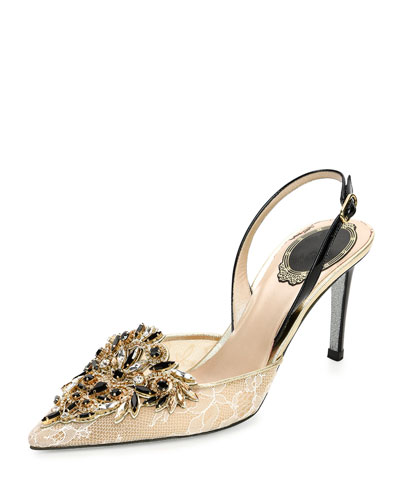 Crystal-Embellished Lace Slingback Pump, Beige/Black