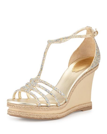 Wedge Sandal Strap Strass Gold T 4jc5qRA3L