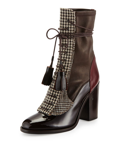 Man Repeller Houndstooth Lace-Up Boot, Dark Brown