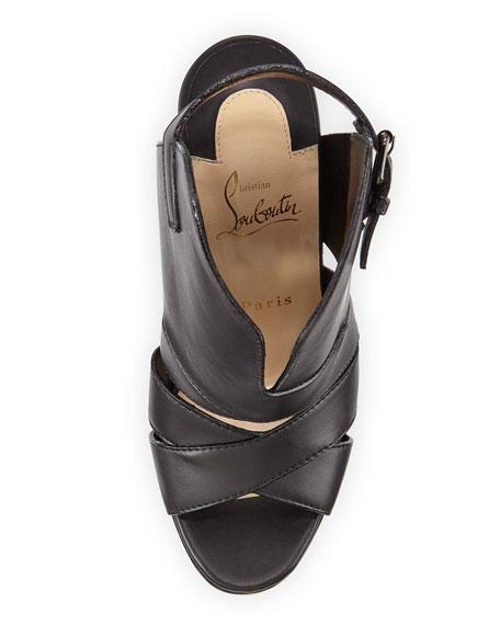 Apron Lili Cutout High-Vamp Red Sole Sandal, Black