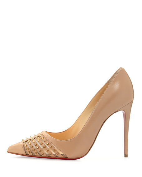 christian louboutin mens trainers - Christian Louboutin Baretta Studded Red Sole Pump, Nude