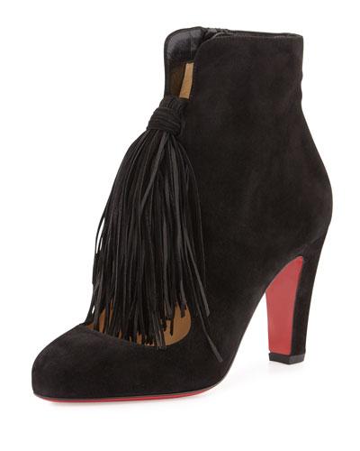 Christina 85mm Suede Tassel Red Sole Bootie, Black