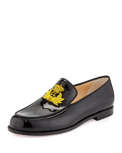 Laperouza Patent Crest Loafer, Black/Gold