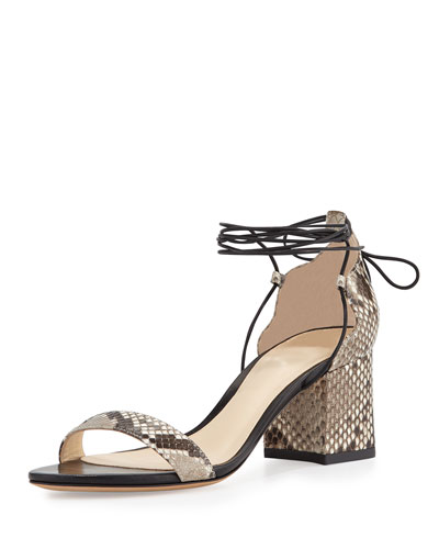 Python Ankle-Wrap Block-Heel Sandal, Natural/Black