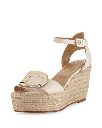 Corda Chips Buckle Wedge Sandal, White