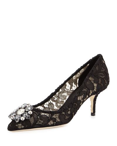 Jewel-Embellished Lace Pump, Black