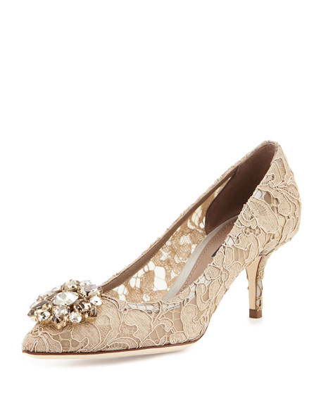 Jewel-Embellished Lace Pump, Sand