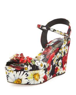 Daisy-Print Twill Wedge Sandal, Black/Red