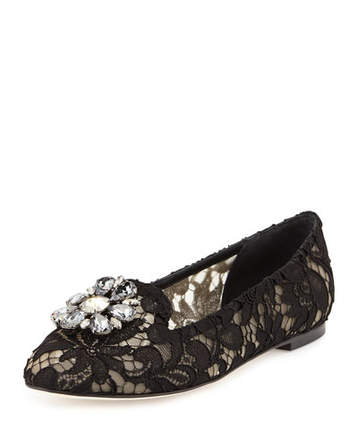 Jewel-Embellished Lace Loafer, Black