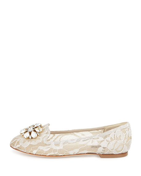 Crystal-Embellished Lace Loafer, Sand