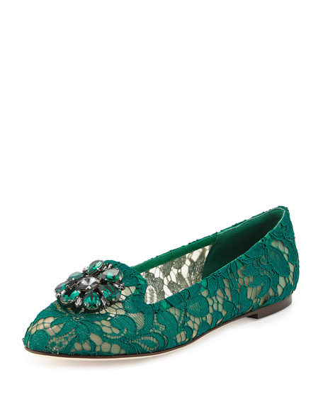 Crystal-Embellished Lace Loafer, Green