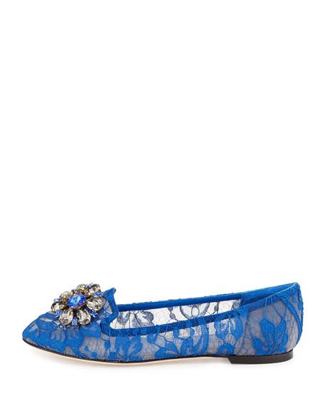 Crystal-Embellished Lace Loafer, Blue