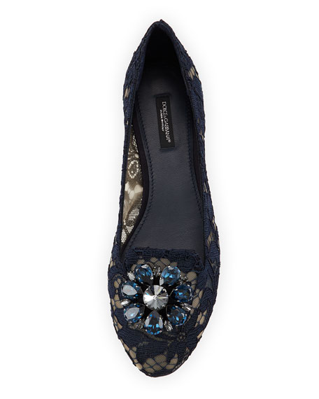Crystal-Embellished Lace Loafer, Navy