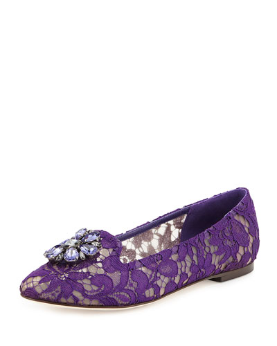 Crystal-Embellished Lace Loafer, Purple