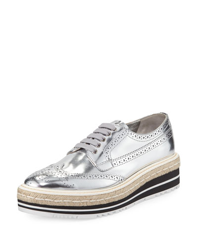 Metallic Leather Espadrille Loafer, Silver