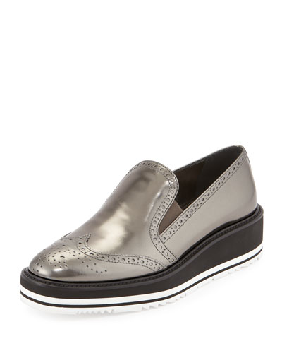 Metallic Leather Platform Loafer, Silver