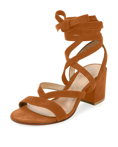 Strappy Suede Ankle-Wrap Sandal, Luggage