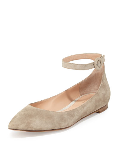 Suede Ankle-Wrap Skimmer Flat, Cashmere