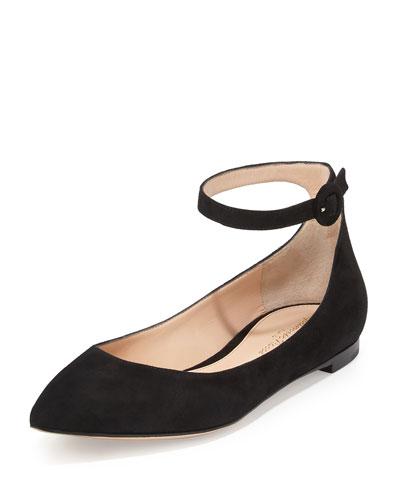 Suede Ankle-Wrap Skimmer Flat, Black
