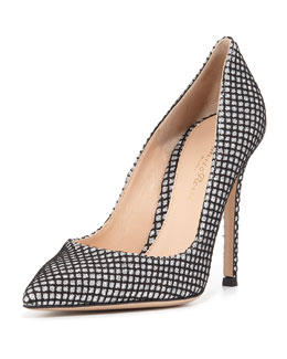 Marilyn Metallic Grid-Print Pump, Glitter Silver