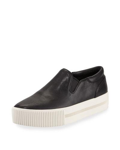 Karma Napa Leather Platform Sneaker, Black