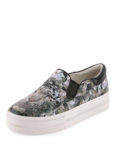 Jam Printed Leather Slip-On Sneaker, Black/Gray