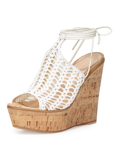 Crocheted Mesh Platform Wedge Sandal, Off White