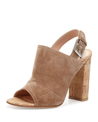 Suede Slingback Mule Sandal, Bisque