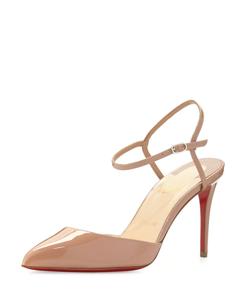 replica slippers - Christian Louboutin Rivierina Patent Ankle-Wrap Red Sole Pump, Nude