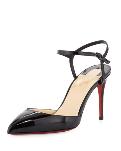 christian louboutin replica mens shoes - christian louboutin studded colorblock patent leather ankle-strap ...