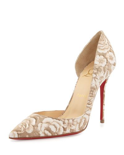 Iriza Half-d'Orsay Red Sole Pump, Beige Floral
