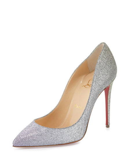 818c16aee64c Christian Louboutin Pigalle Follies Glitter 100mm Red Sole Pump
