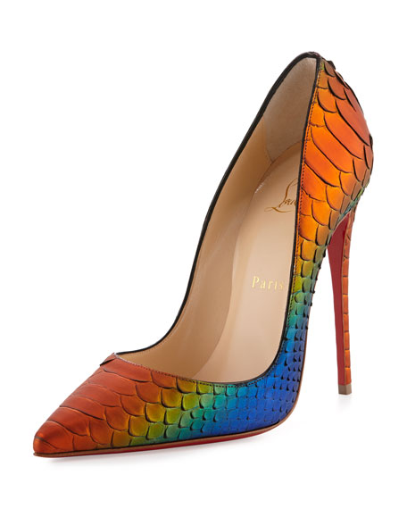 Christian Louboutin So Kate Parrot Python Red Sole