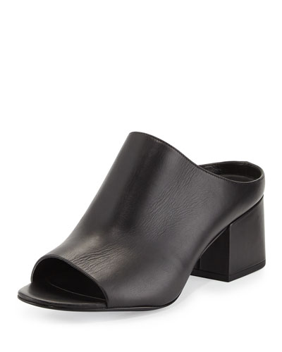 Open-Toe Leather Mule Slide Sandal, Black