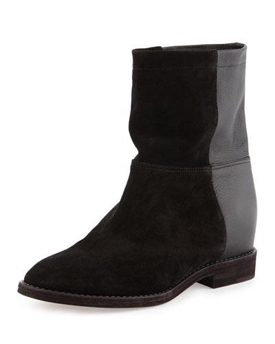 Grayson Suede & Leather Short Boot, Black