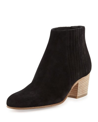 Haider Gored Suede Ankle Boot, Black
