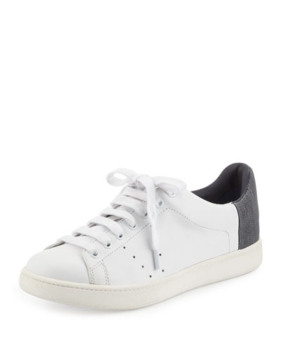 Varin Leather Low-Top Sneaker, Plaster/Dark Denim