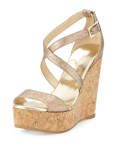 Portia Metallic Foiled Wedge Sandal, Nude