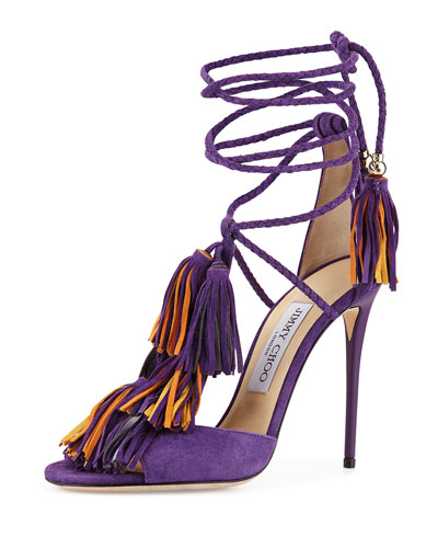 Mindy Fringe Ankle-Wrap Sandal, Boho Purple