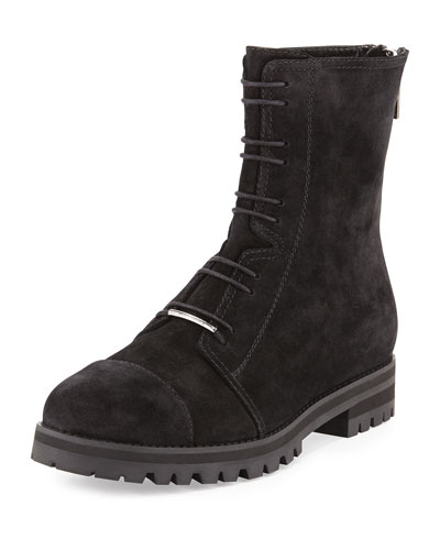 Haza Suede Tread-Sole Boot, Black