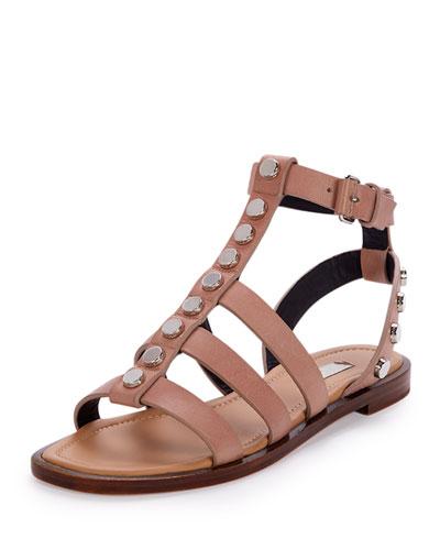 Studded Leather Gladiator Sandal, Beige Sienne