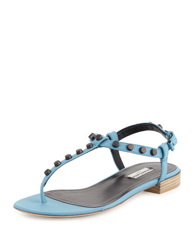 Studded Leather Flat Thong Sandal, Cyclades Blue