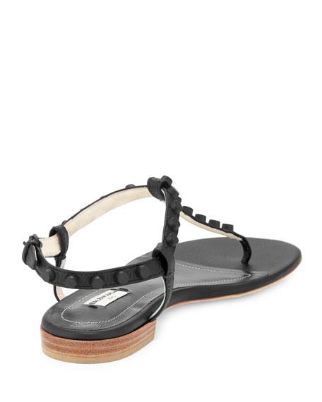 83bb34dbf3a Balenciaga Studded Leather Flat Thong Sandal