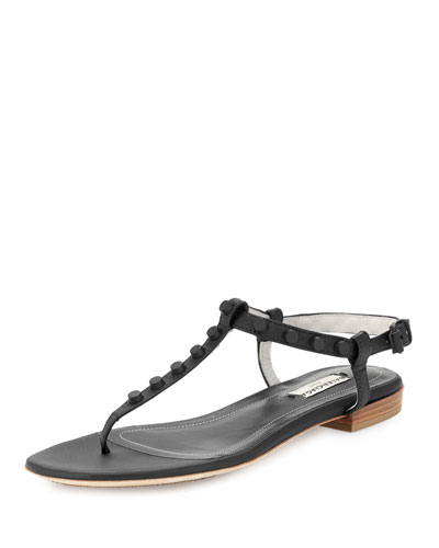 Studded Leather Flat Thong Sandal, Black