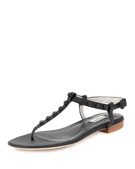 Balenciaga Studded Leather Flat Thong Sandal Black