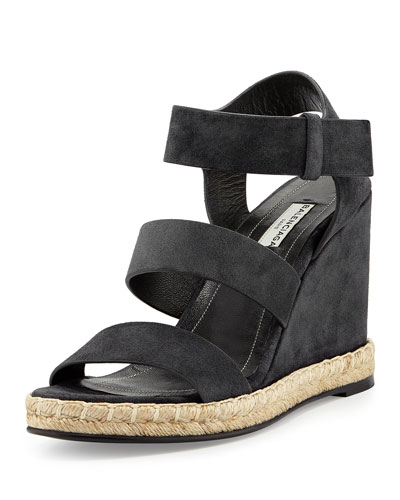 Three-Strap Suede Espadrille Sandal