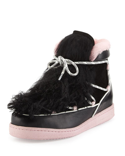 Quentin Two-Tone Fur-Trim Sneaker, Black