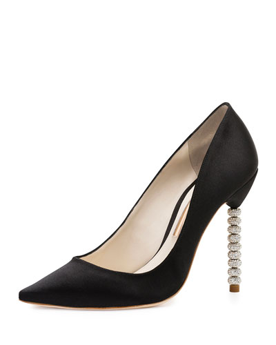 Coco Suede Crystal-Heel Pump, Black