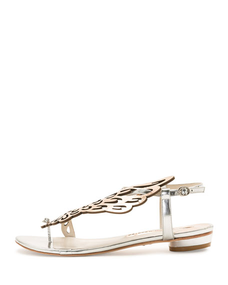 Seraphina Butterfly-Wing Flat Sandal, White Rose-Golden